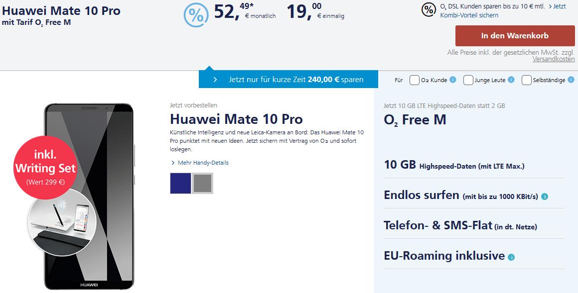 Huawei Mate 10 Pro mit O2 Free M Handyvertrag