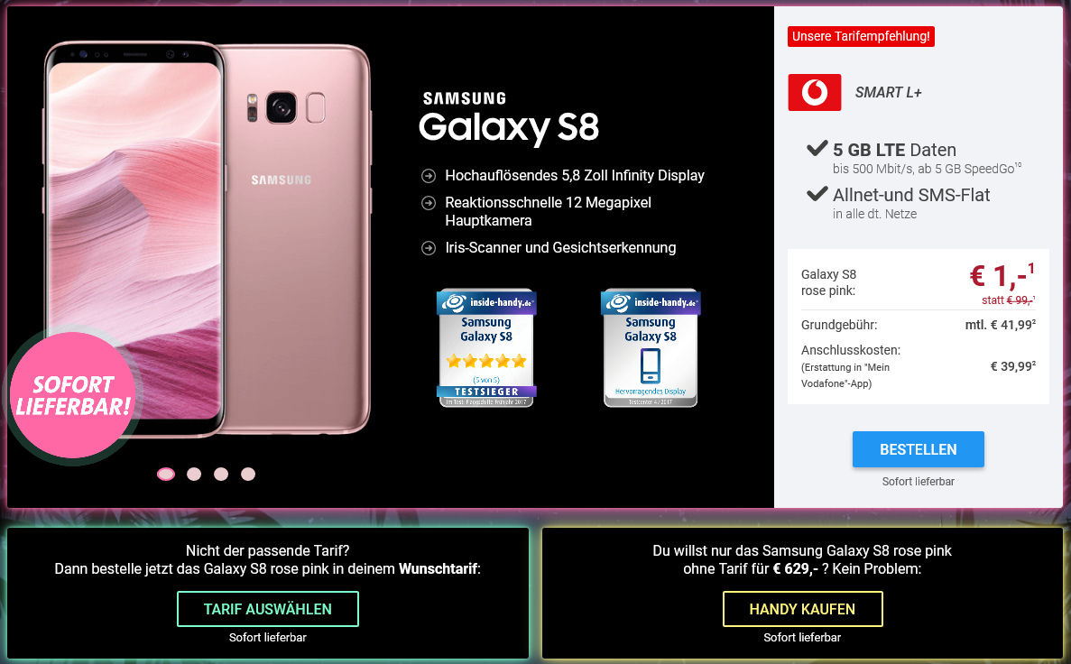 Samsung Galaxy S8 Rose Pink mit Vodafone Smart L Handyvertrag